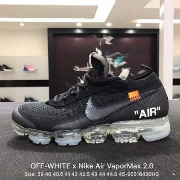 Off White X Nike Custom Air Vapormax 2.0 Ow Sport Running Shoes Black Ice Blue AA3831-100 Sneaker