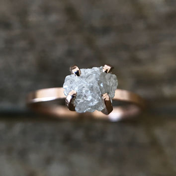 Rough Diamond Solitaire Ring - Gold / Sterling - Ethically Sourced Conflict Free