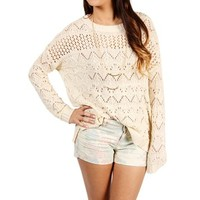 SALE-Ivory Pointelle Sweater