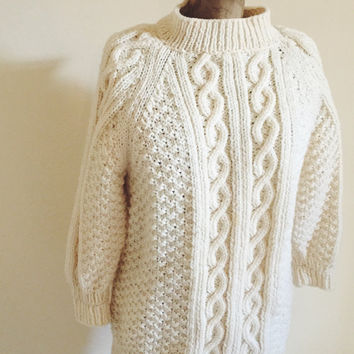 Vintage, Cable Knit, Hand Knit, Virgin Wool ,Fisherman, Irish Sweater, Unmarked, Size Small