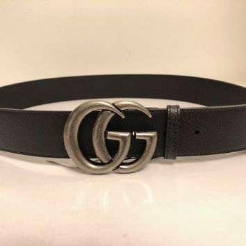 """GUCCI DOUBLE G SILVER BUCKLE BLACK LEATHER BELT 90/32"""""""