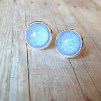P E R I W I N K L E - Light Periwinkle Blue and Silver Metallic Glitter Sparkle Photo Glass Cab Circle Silver Plated Post Stud Earrings