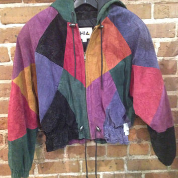 Vintage Color Block Suede Leather Bomber Jacket