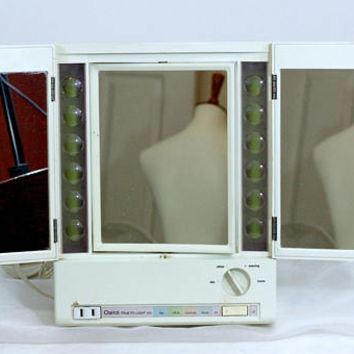 Vintage Makeup Mirror Lighted   Clairol True to Light VIII   Day Office Evening Home   Folding Magnifying Mirror 4 Settings   Works