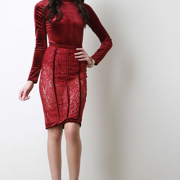 Velvet Mock Neck Bodysuit With Sheer Lace Midi Skirt