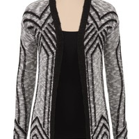 Patterned Open Front Cardigan - Black