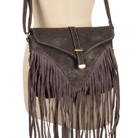 Live on the Fringe Cross-Body Bag - Charcoal
