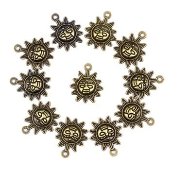 20 Pieces Happy Sun Positive Powers Lucky Charms Findings for Jewelry Pendant Necklace Making 20mm