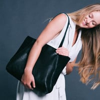 BLACK Leather tote - Soft leather bag - Women bag - Tote bag - Miri bag