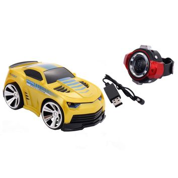 Costway 2.4G Voice Command Car Smart Watch Remote Control RC Racing Toy Car Yellow