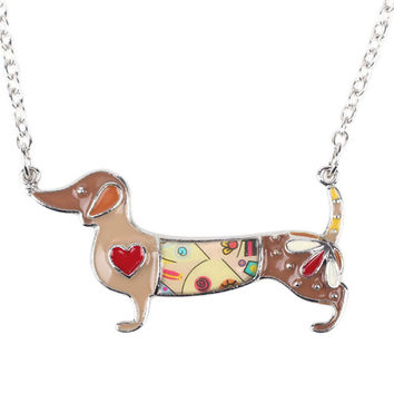 Enamel Dachshund Dog Choker Necklace