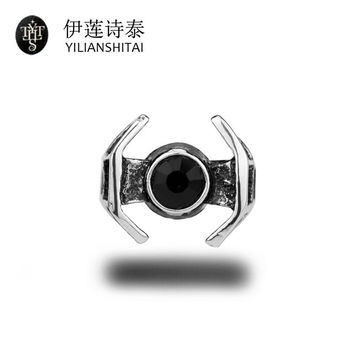 Star Wars Darth Vader TIE Fighter Ring Star Wars Rings for Women Black Stone Mosaic Type Cocktail Party love Ring men jewelry