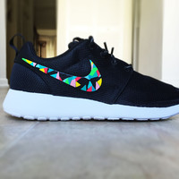 Nike Roshe Run custom hand painted, colorful abstract design, abstract colors, teal, red, pink, green, blue, yellow