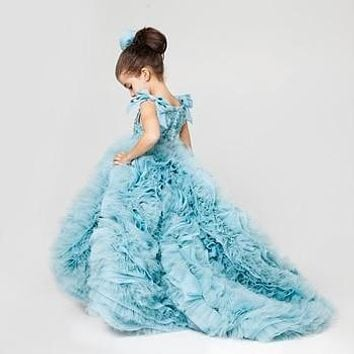 Sky Blue Sleeveless Ruffles Flower Girl Dress Little Princess Ball Gown First Communion Dress