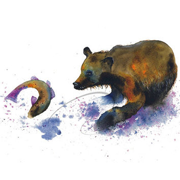 Fishing - Art Print grizzly bear brown jumping salmon river fish wildlife purple watercolor painting blue wall art home decor Oladesign 8x10