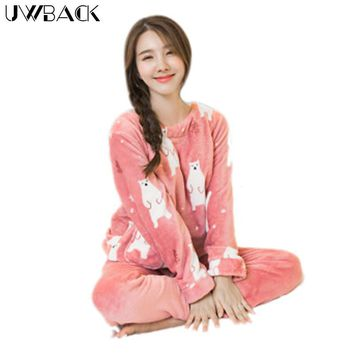 Uwback 2017 Winter Brand Flannel Pajamas Sets Women Cute Sleepwear Female Coral Fleece Nightwear Mujer Animal Character OB270