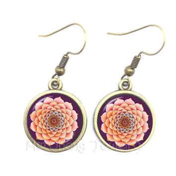 Flower Of Life Tibetan Om Mandala Earrings Gray Om Jewelry Vintage Buddhism Meditation Jewelry Glass Dome Earrings For Women