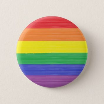 Painted Rainbow Flag Pinback Button