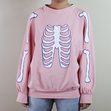 PREORDER for Skeleton Halloween sweater (pastel pink)