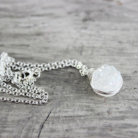 White Gemstone Necklace, Sterling Silver Necklace, Small Pendant Necklace, Circle Necklace, White Druzy Necklace, Druzy Quartz Necklace