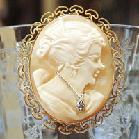 Cameo Shell Brooch Diamond Accent Pendant Gold Filled Metal Filigree Frame Art Nouveau Deco Victorian Lady with Necklace Jewelry Circa 1930s