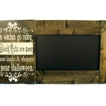 Framed Halloween Chalkboard Large Rustic Wood Gift Wall Decor - Halloween Subway Art (#1223-CB)