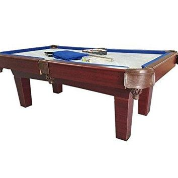 By PoolCentral 7' Brown and Blue Slate Billiard and Pool Game Table