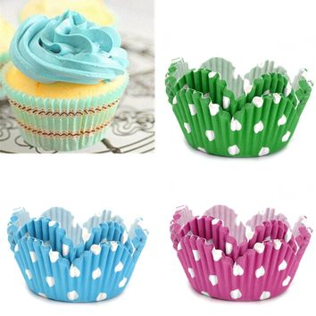 50x Greaseproof Polka Dot Muffin Cupcake Cups Paper Baking Liners Wedding Party