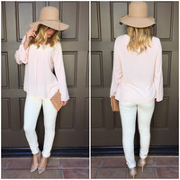 Blush Enlighten Crochet Blouse