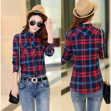 Turn-down Collar Plaid Flower Print Long Sleeves Slim Button Blouse