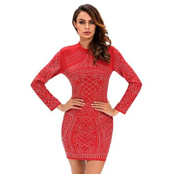 Chicloth Red Studded Long Sleeves Dress