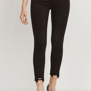 Distressed Hem Skinny Jeans, Black