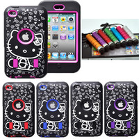 DELUXE 3Piece Hybrid Hello Kitty Case Cover Skin For iPod Touch 4 4th Gen+Pen