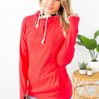 Double Hooded Sweatshirt- Bright Red Floral Accent