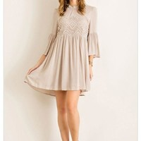 Time To Have Fun Beige Short Dress With Crochet Top