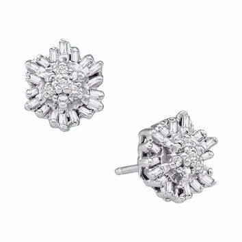 14kt White Gold Women's Round Baguette Diamond Cluster Stud Earrings 1-10 Cttw - FREE Shipping (USA/CAN)