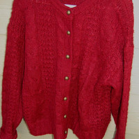 Vintage 80s Forenza Limited Burgandy Mohair Cardigan Cable Knit Sweater Size Medium