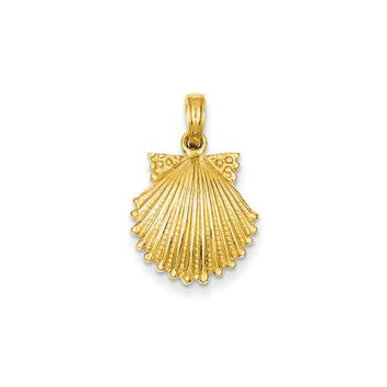 14k Yellow Gold Textured Scalloped Shell Pendant