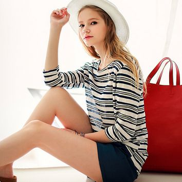 Blue And White Stripes Loose Shirt