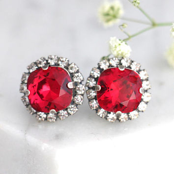 Red Earrings, Scarlet Red Earrings, Bridal Ruby Earrings, Bridesmaids Earrings, Gift For Her Swarovski Crystal Red Scarlet Stud Earrings