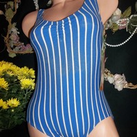 vtg so softy danskin stripes nwt 80s spandex leotard bodysuit ruched bust L - 42