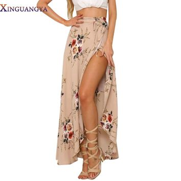 Skirts Womens 2017 Irregular Long Skirt Women Vintage White Floral Print Side Slit Wrap Maxi Skirt Boho Summer Beach Skirt Girl