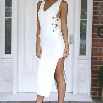 Lace Me Up Maxi Dress (White) | Xenia Boutique | Women's fashion for Less - Fast Shipping