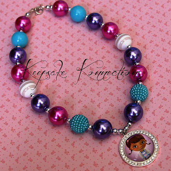 Doc McStuffins chunky bead necklace girls birthday Doc McStuffins necklace bubblegum bead necklace