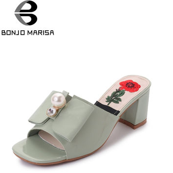 BONJOMARISA 2017 Summer Beading Solid Elegant Mules Peep Toe Concise High Square Heel Women Shoes Size 35-39