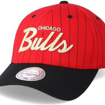 Chicago Bulls Pinstripe Snapback Hat By Mitchell and Ness