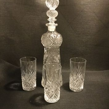 Vintage Cut Glass Decanter with triple knotted stopper and high-ball glasses