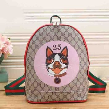 GUCCI Backpack Cute Puppy Number 25 School Bag B-MYJSY-BB Pink