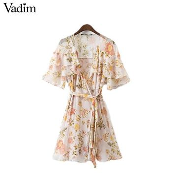 Vadim women sexy V neck ruffles floral chiffon dress sashes short sleeve A line summer casual dresses vestidos mujer QZ3029