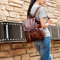 Retro Single Hook Brown British Style Leather Women's Backpack